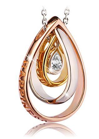 历史新低!J.Rosée Happiness 梦幻水滴水晶 镀玫瑰金 纯银三环项链1.2折 17.99加元清仓并包邮!