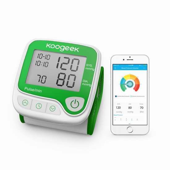 独家!Koogeek 家用智能蓝牙无线 心率监测 腕式血压计5.6折 23.99加元包邮!