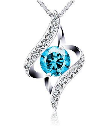 J.Rosée 情人之眼 纯银蓝色水晶项链16.99加元包邮!