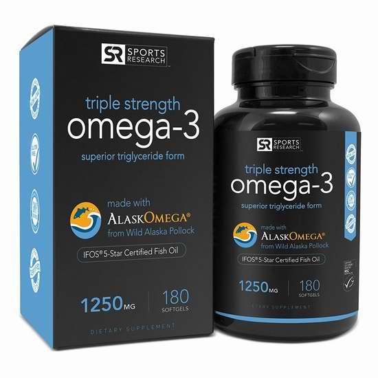 Sports Research Omega-3 三倍加强 深海鱼油(1250mg x 180) 46.92加元限量特卖并包邮!