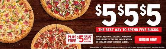 Pizza Hut 必胜客 正价购买大号或中号pizza,再买3个以内中号pizza每个仅需5元!网购再送5元抵用券!