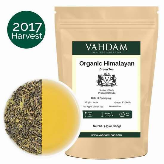 Vahdam Teas 喜马拉雅山大吉岭有机绿茶(3.53盎司 50杯) 12.7加元限量特卖!