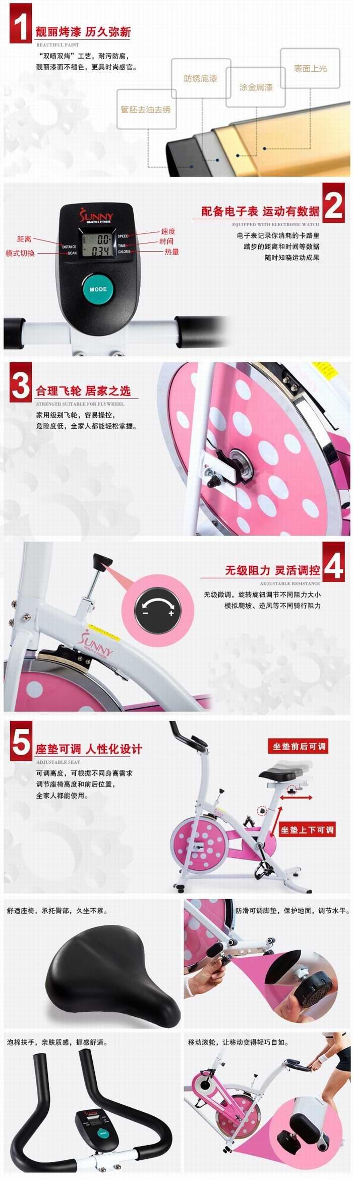 Sunny Health and Fitness SF-B1203 炫彩动感 家用静音健身自行车 246.97加元包邮!