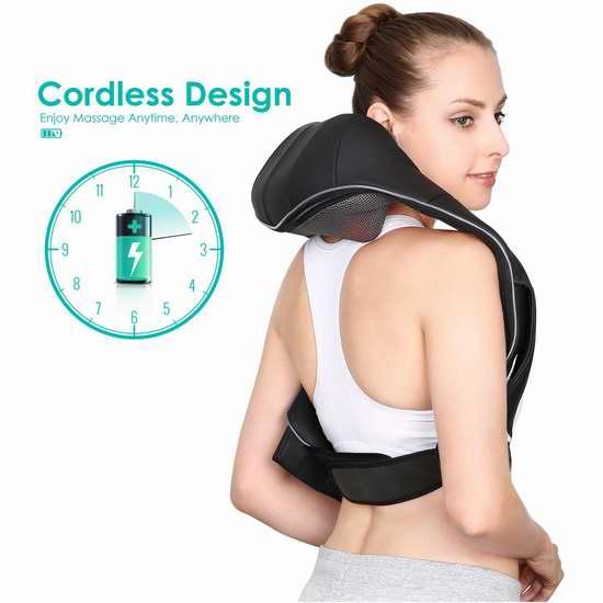 Naipo 红外加热 3D揉捏可调强度 充电式肩颈按摩披肩6.2折 74.99加元包邮!无线设计,使用更方便!免税!