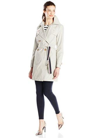 Tommy Hilfiger 女式经典双排扣长款连帽风衣2.4折 53.42加元起限时清仓并包邮(XL)!