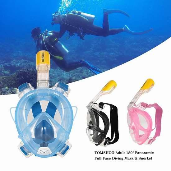独家!Tomshoo 180°视角 成人游泳潜水面罩 27.97加元包邮!2色可选!