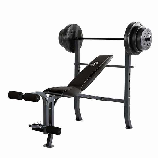 Marcy Diamond 中宽健身凳+100磅杠铃 295.68加元包邮!