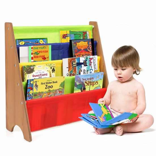 HOMFA 儿童彩色布艺书架 33.99加元限量特卖并包邮!
