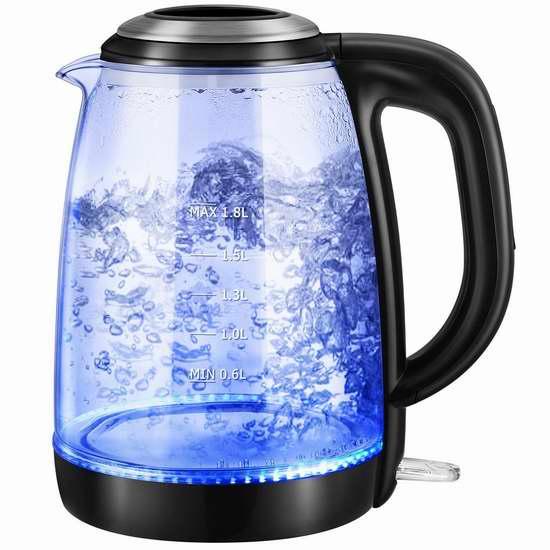 Habor 1.8升蓝光玻璃电热水壶 31.44加元限量特卖并包邮!