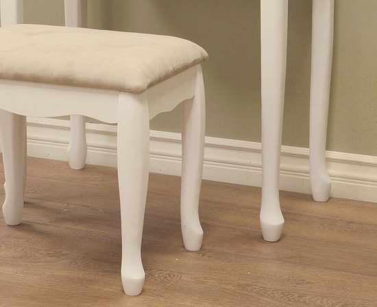 Frenchi Home Furnishing 白色梳妆台桌椅3件套 169.81加元包邮!