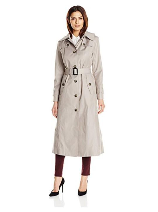 London Fog  Maxi-Length长款防水带帽风衣 66.99加元起特卖(2色),原价 255.44加元,包邮
