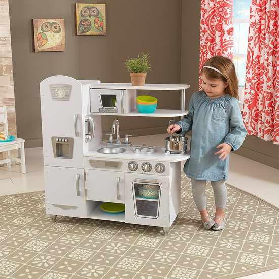 KidKraft 53208 白色复古款儿童仿真厨房6.8折 129.97加元包邮!