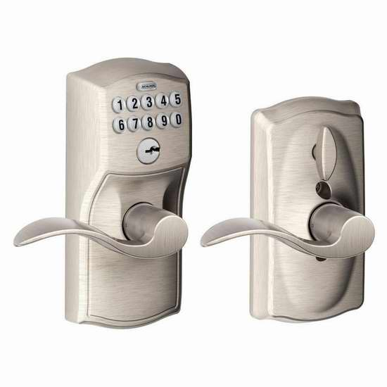 销量冠军!Schlage 西勒奇 FE595 CAM 家用电子密码门锁4.8折 99.99加元包邮!2色可选!