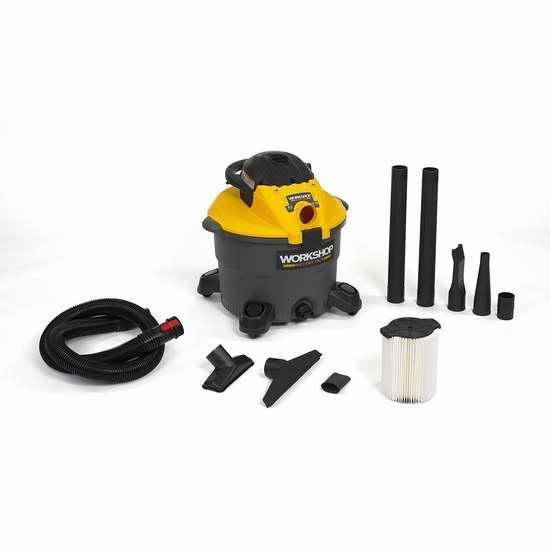 金盒头条:WORKSHOP WS1200DE 5马力 便携式干湿两用吸尘器/吹扫机 99加元包邮!