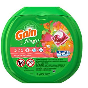 Gain Flings 3合1强力去污除味洗衣球 9.87加元(57颗 ),原价 15.83加元