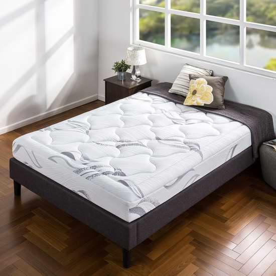 近史低价!Zinus 8英寸豪华超软绿茶记忆海绵Queen/King床垫 244.9-251.45加元包邮!