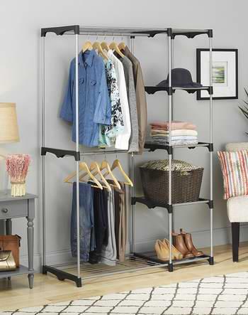 历史新低!Whitmor 6779-3044 银色钢结构 晾衣架/衣物收纳架 53.47加元包邮!