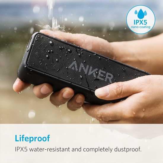第二代 Anker SoundCore 2 超便携 超长续航 超重低音 防水蓝牙音箱 6.9折 48.52加元包邮!仅限今日!