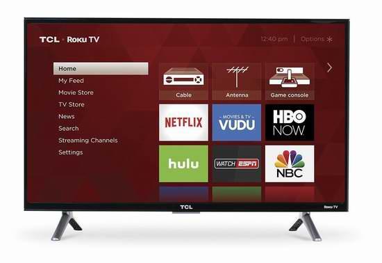 历史新低!2017版 TCL 28S305 28英寸720p Roku智能电视 191.99加元包邮!