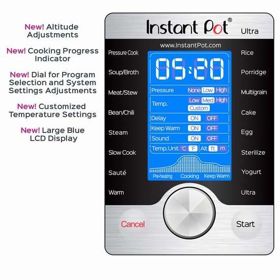 新款 Instant Pot Ultra 6夸脱 10合一 超智能可编程 电压力锅 124.99加元包邮!