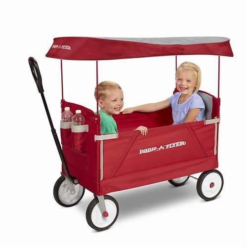 Radio Flyer 3合1 可折叠带顶蓬双人儿童拖车 117.62加元包邮!支持5日送达!