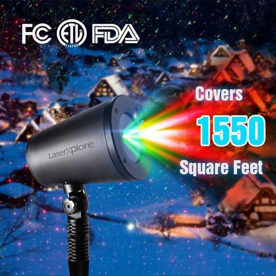 手慢无!LaserXplore 7模式 圣诞满天星流星雨 激光装饰灯 15.99加元限量特卖!