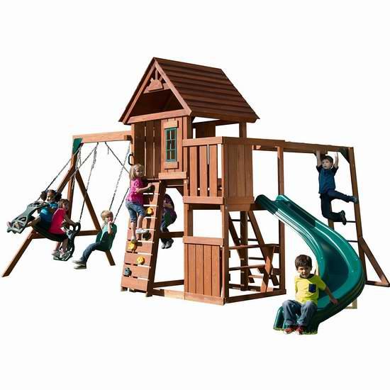 历史新低!Swing-N-Slide Cedar Brook 超豪华实木儿童秋千滑梯组合4.3折 777.96-864.4加元包邮!