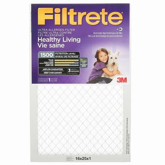 金盒头条:精选38款 Filtrete 家庭空调暖气炉过滤网5.9折起!