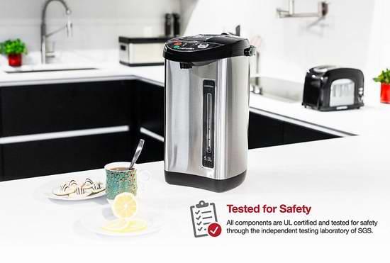金盒头条:历史新低!Chefman RJ16-SS 5.3升 不锈钢真空保温 电热水壶4.5折 67.5加元包邮!