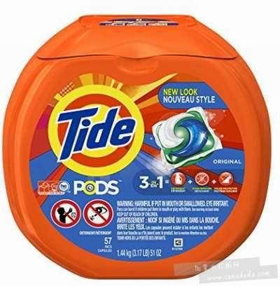Tide 汰渍  三合一速溶果冻洗衣球 10.99加元(57粒) ,原价 16.99加元