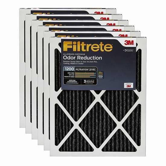 近史低价!3M Filtrete MPR 1200 碳纤维除异味 防过敏 家庭空调暖气炉过滤网(16x25x1、6个装) 90.79加元包邮!