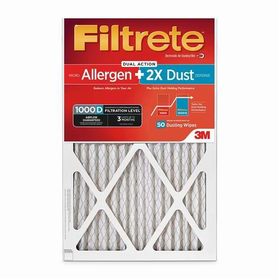 历史新低!Filtrete MPR 1000D 防过敏 2倍锁住粉尘 家庭空调暖气炉过滤网(6个装 16x25x1英寸)6.6折 95.67加元包邮!