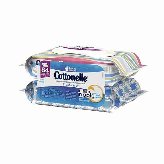 Cottonelle Fresh Care 可冲马桶湿巾纸两件套 4.95加元(84张),原价 10.98加元