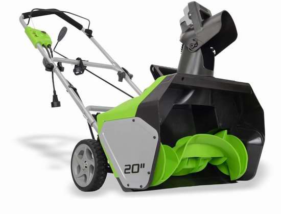 历史新低!GreenWorks 2600502 13安 20英寸电动铲雪机 104.49加元包邮!