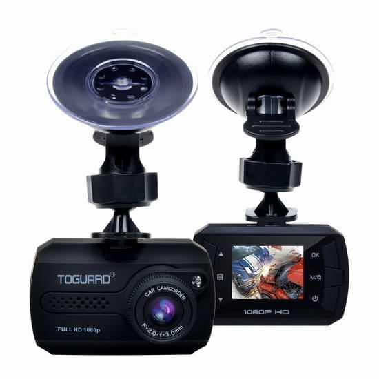 Toguard 1080P 1.5寸迷你广角行车记录仪 25.49加元限量特卖并包邮!
