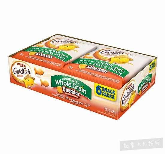 Pepperidge Farm Goldfish 小金鱼全麦饼干零食包(26g x 6)5.6折1.58加元!