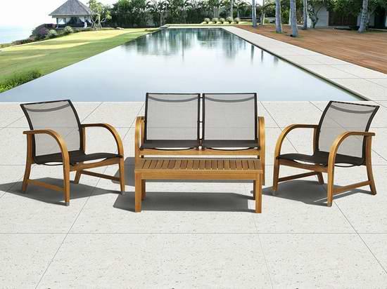 历史新低!Amazonia Manhattan Eucalyptus 庭院实木桌椅4件套3.1折 275.81加元包邮!