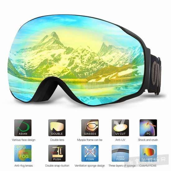 OUTAD 专业防紫外线防雾广角滑雪镜 15加元限量特卖(5色),原价 45.99加元
