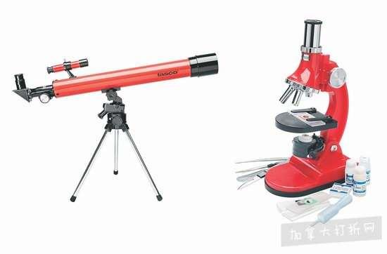 超级白菜!Tasco Novice 50x 50mm 折射式天文望远镜 + 900倍显微镜套装1.1折 7.99加元清仓!