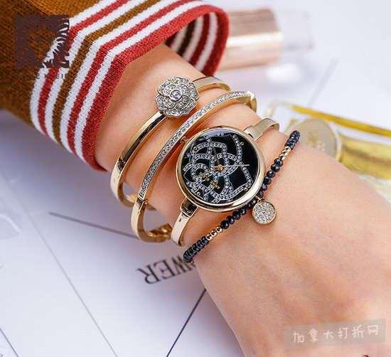 历史新低!Anne Klein AK/3080GBST施华洛世奇水晶 手表+手镯套装3.5折 79.55加元包邮!