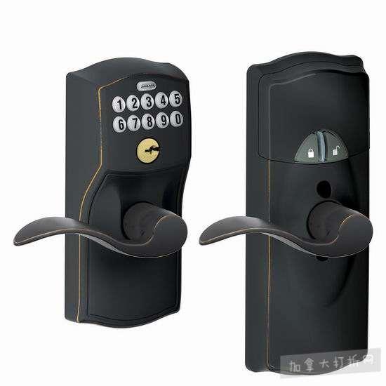 Schlage 西勒奇 FE599NX CAM 智能电子密码门锁4折 141.73加元包邮!