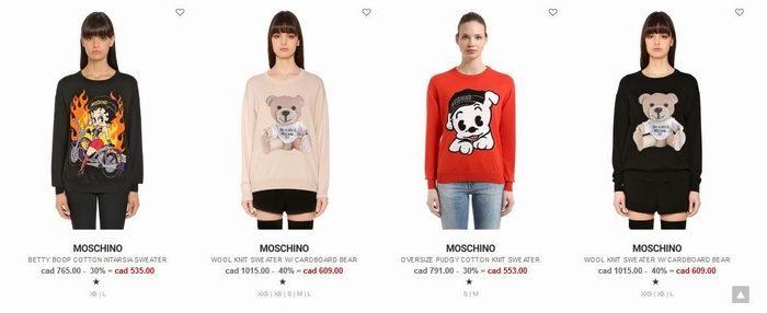 萌到各路潮人人手一件!精选 MOSCHINO 时尚服饰、美包 7折起+额外8折优惠!大表姐同款186.4加元!