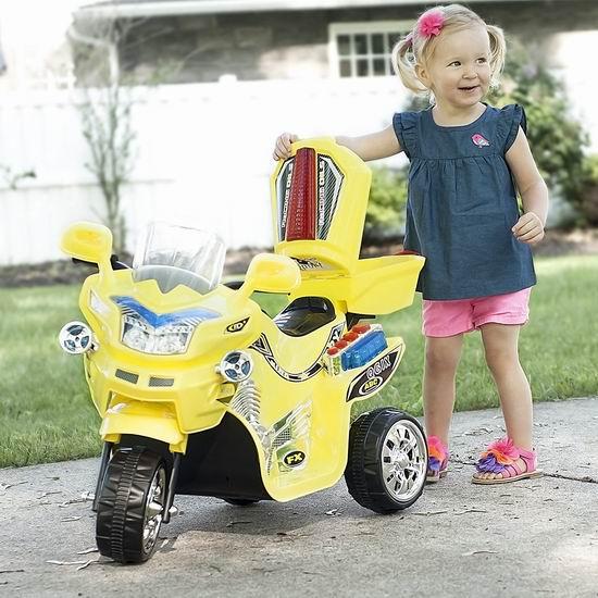 历史新低!Rockin' Rollers M370043 儿童黄色电动三轮摩托车6折 81.59加元包邮!