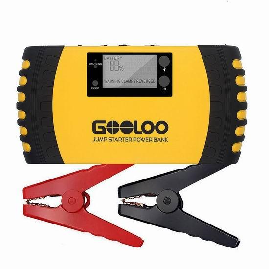 GOOLOO 1000A Peak 20800mAh 4合一 便携式充电宝/汽车电瓶紧急启动电源 93.49加元限量特卖并包邮!