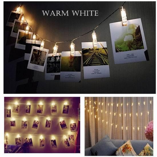 Glamouric 16 LED 浪漫装饰灯 照片夹(4.5米/16灯) 16.14加元限量特卖!