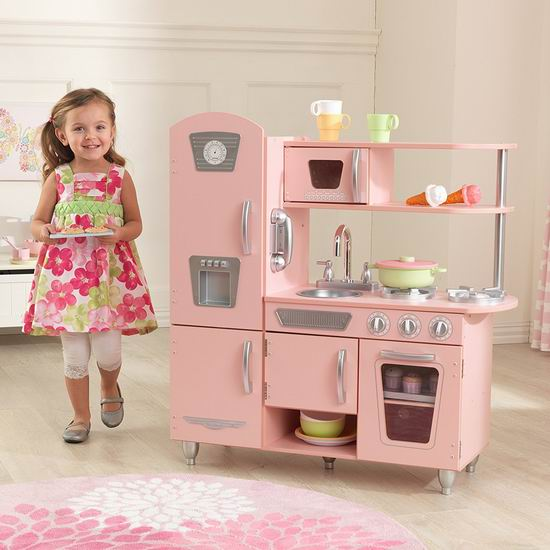 KidKraft 53179 Vintage 粉红复古 儿童木质玩具厨房7.2折 154.98加元包邮!