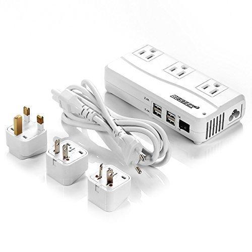 BESTEK 国际通用 3 插座 + 4 USB充电 220V to 110V 变压插线板 27.39加元限量特卖并包邮!