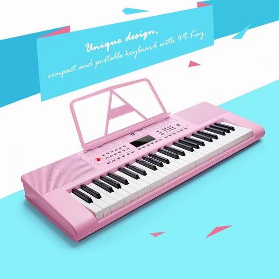 历史最低价!Vangoa VGK4900 49键 粉红色 儿童电子琴4折 39.99加元限量特卖并包邮!