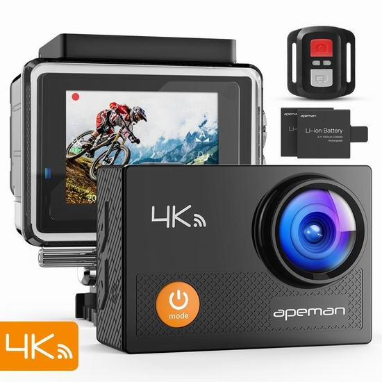 APEMAN 4K 超高清超大广角无线WiFi运动摄像机+双锂电池+20附件套装 55.62加元限量特卖并包邮!
