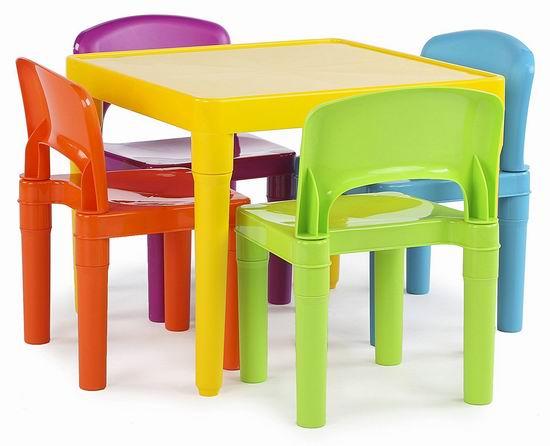 历史新低!Tot Tutors 彩色塑料 儿童桌椅5件套4.3折 54.16加元包邮!